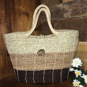 Handbags - Boho Woven Wicker Rattan Basket Purse Handbag Bali